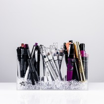 Clear acrylic makeup organiser for brushes and/or lip and eye pencils